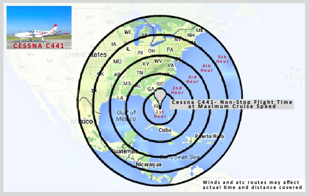 radius map cessna conquest